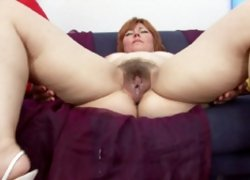 Redhead mom gets her plump hairy pussy and ass nailed and cumloaded by a strong tireless cock