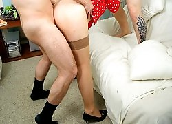 Two young guys screwing horny mature blonde